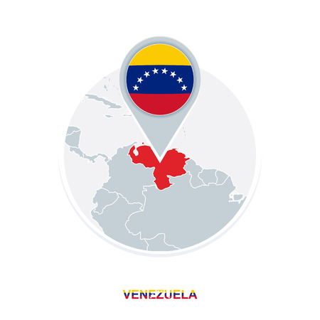 Venezuela map and flag, vector map icon with highlighted Venezuela