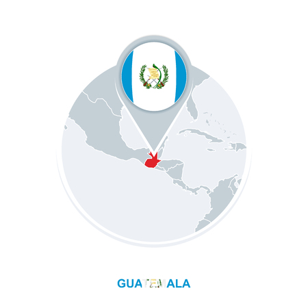 Guatemala map and flag, vector map icon with highlighted Guatemala