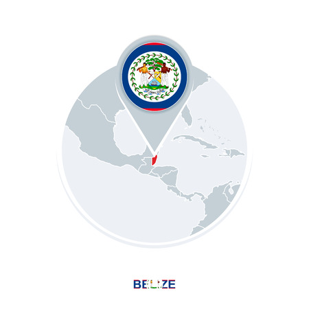 Belize map and flag, vector map icon with highlighted Belize