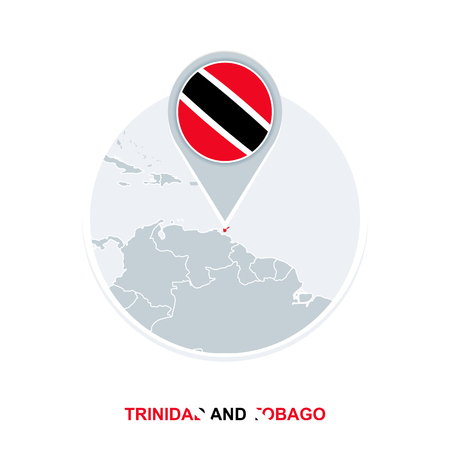 Trinidad and Tobago map and flag, vector map icon with highlighted Trinidad and Tobago Illustration