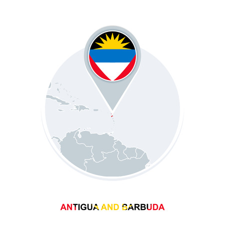 Antigua and Barbuda map and flag, vector map icon with highlighted Antigua and Barbuda