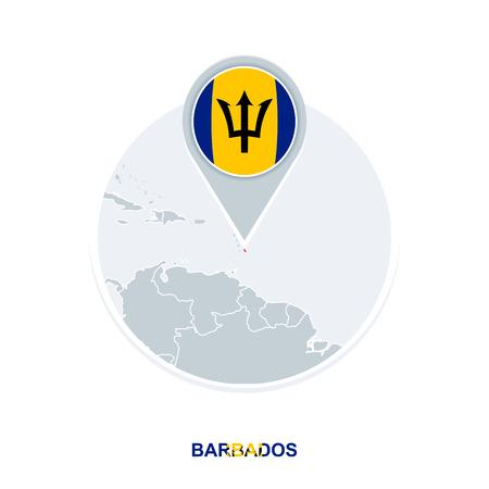 Barbados map and flag, vector map icon with highlighted Barbados Archivio Fotografico - 110065481
