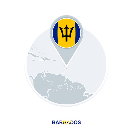 Barbados map and flag, vector map icon with highlighted Barbados Illustration