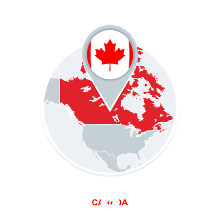 Canada map and flag, vector map icon with highlighted Canada