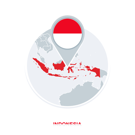 Indonesia map and flag, vector map icon with highlighted Indonesia Иллюстрация