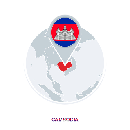 Cambodia map and flag, vector map icon with highlighted Cambodia Ilustração