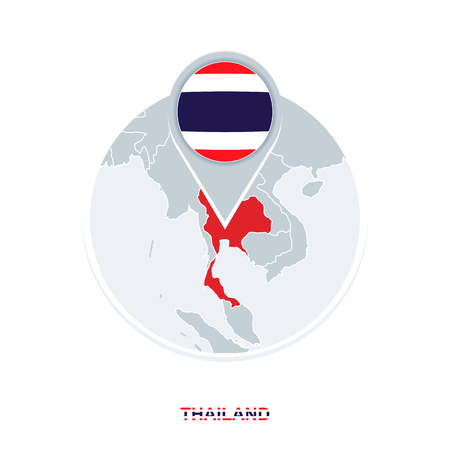 Thailand map and flag, vector map icon with highlighted Thailand Ilustracja