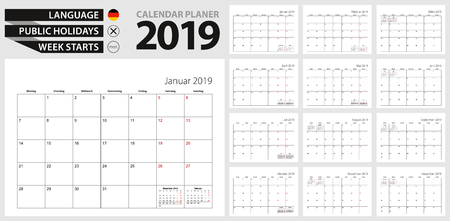 German calendar planner for 2019. German  language, week starts from Monday. Vector calendar template for Germany, Belgium, Austria, Switzerland and other.