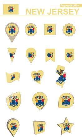 New Jersey Flag Collection. Big set for design. Vector Illustration.