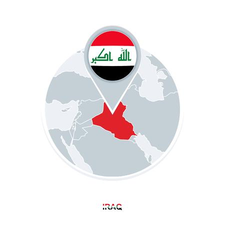 Carte et drapeau de l'Irak, icône de carte vectorielle avec l'Irak en surbrillance