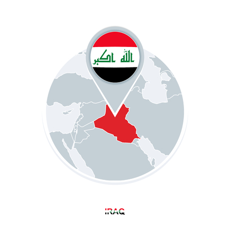 Iraq map and flag, vector map icon with highlighted Iraq