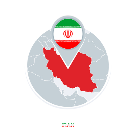 Iran map and flag, vector map icon with highlighted Iran Illustration