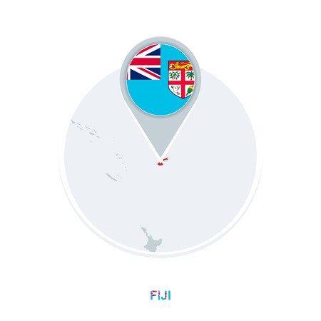 Fiji map and flag, vector map icon with highlighted Fiji Illustration