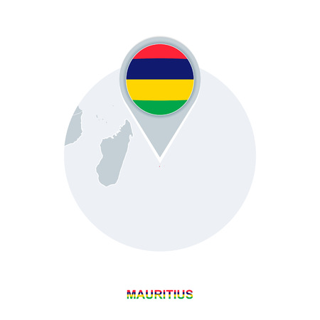 Mauritius map and flag, vector map icon with highlighted Mauritius Illustration