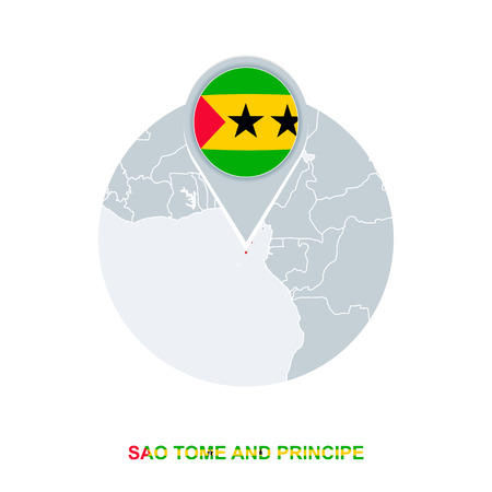Sao Tome and Principe map and flag, vector map icon with highlighted Sao Tome and Principe