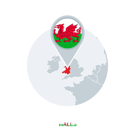 Wales map and flag, vector map icon with highlighted Wales
