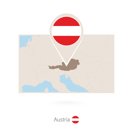 Rectangular map of Austria with pin icon of Austria