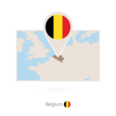 Rectangular map of Belgium with pin icon of Belgium