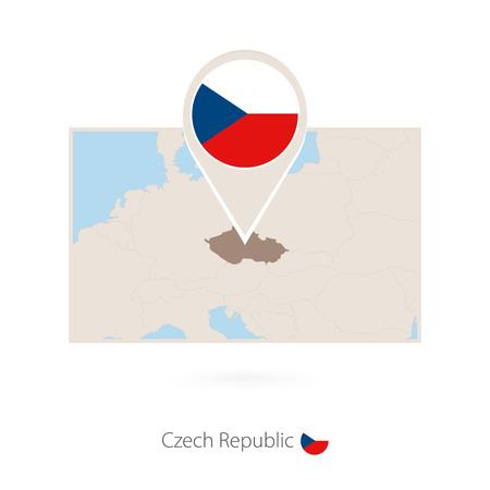 Rectangular map of Czech Republic with pin icon of Czech Republic Vektoros illusztráció