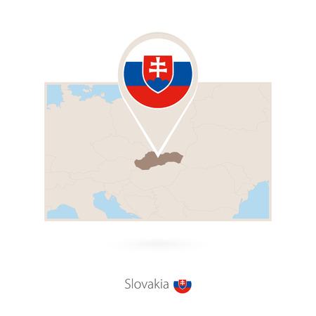 Rectangular map of Slovakia with pin icon of Slovakia