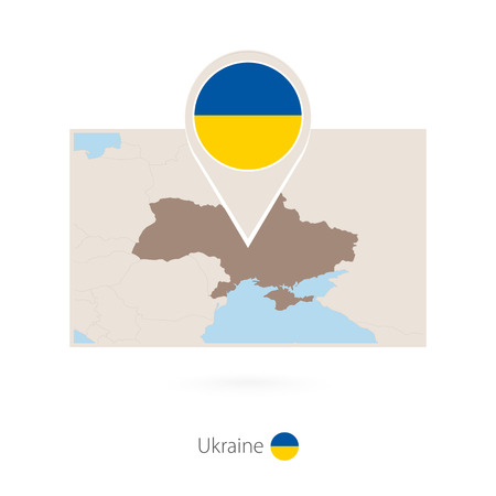 Rectangular map of Ukraine with pin icon of Ukraine Vectores