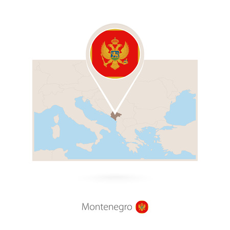 Rectangular map of Montenegro with pin icon of Montenegro