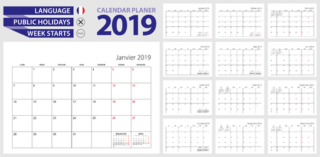 French calendar planner for 2019. French language, week starts from Monday. Vector calendar template for France, Canada, Belgium, Cameroon and other.