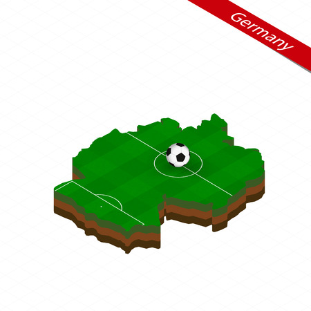 Isometric map of Germany with soccer field. Football ball in center of football pitch. Vector soccer illustration.