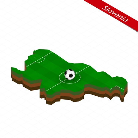 Isometric map of Slovenia with soccer field. Football ball in center of football pitch. Vector soccer illustration.