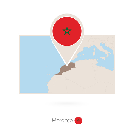 Rectangular map of Morocco with pin icon of Morocco Banco de Imagens - 110878458