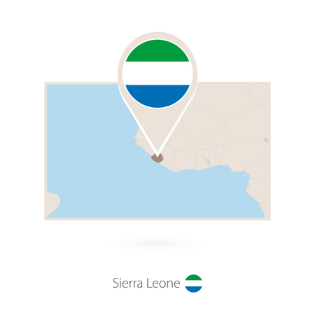 Rectangular map of Sierra Leone with pin icon of Sierra Leone
