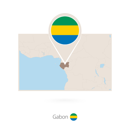 Rectangular map of Gabon with pin icon of Gabon