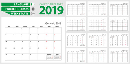 Italian calendar planner for 2019. Italian language, week starts from Monday. Vector calendar template for Italy, Switzerland, San Marino and other.
