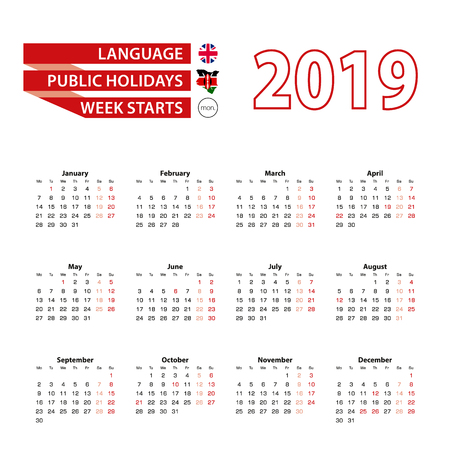 Calendar 2019 in English language with public holidays the country of Kenya in year 2019. Week starts from Monday. Vector Illustration.