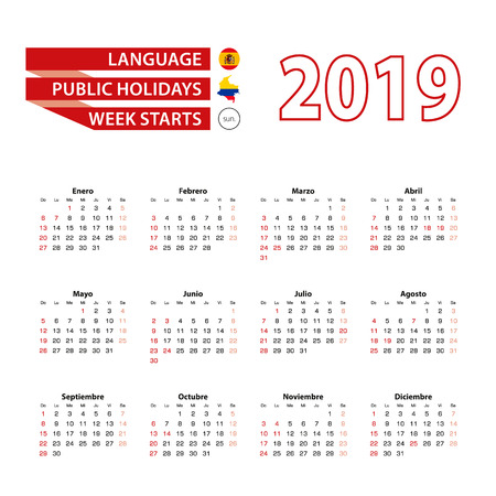 Calendar 2019 in Spanish language with public holidays the country of Colombia in year 2019. Week starts from Sunday Vector Illustration.  イラスト・ベクター素材