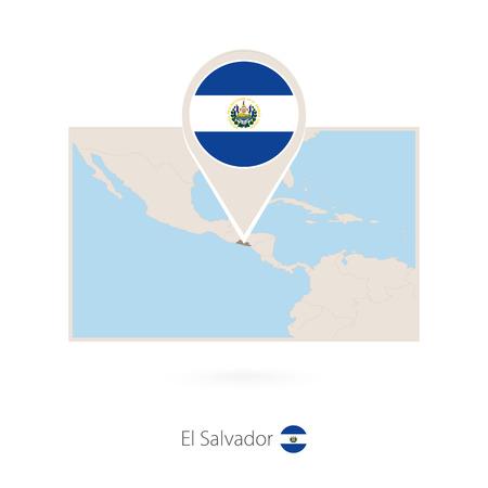 Rectangular map of El Salvador with pin icon of El Salvador