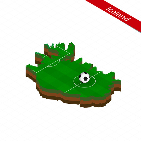 Isometric map of Iceland with soccer field. Football ball in center of football pitch. Vector soccer illustration.