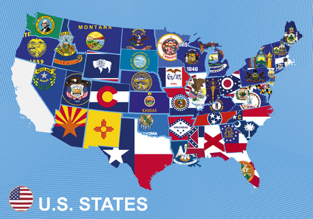 Carte des États-Unis avec les drapeaux des États, sur fond bleu Vecteurs
