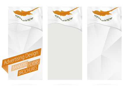 Design of banners, flyers, brochures with flag of Cyprus. Leaflet Template for website or printing. Vector Illustration. Archivio Fotografico - 111206518