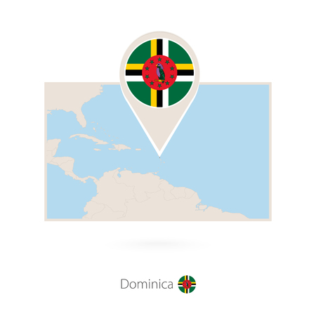 Rectangular map of Dominica with pin icon of Dominica