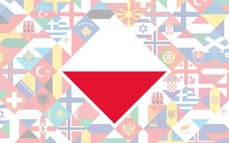 Flag background of European countries with big flag of Poland in the centre for Football competition