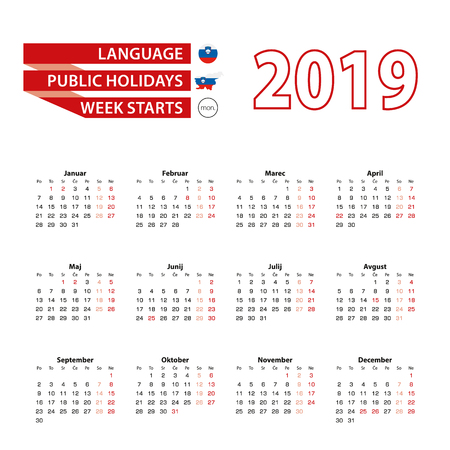 Calendar 2019 in Slovene language with public holidays the country of Slovenia in year 2019. Week starts from Monday. Vector Illustration.