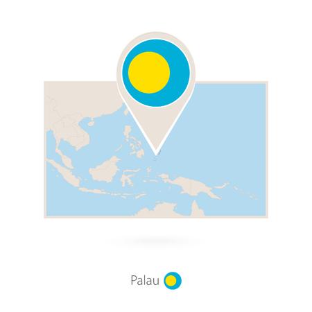 Rectangular map of Palau with pin icon of Palau Ilustrace