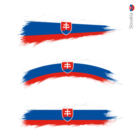 Set of 3 grunge textured flag of Slovakia, three versions of national country flag in brush strokes painted style. Vector flags. Illustration