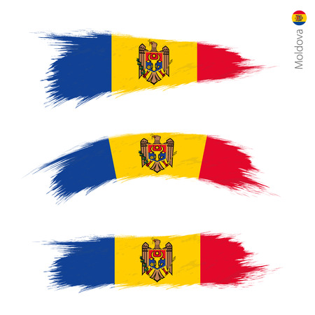 Set of 3 grunge textured flag of Moldova, three versions of national country flag in brush strokes painted style. Vector flags.