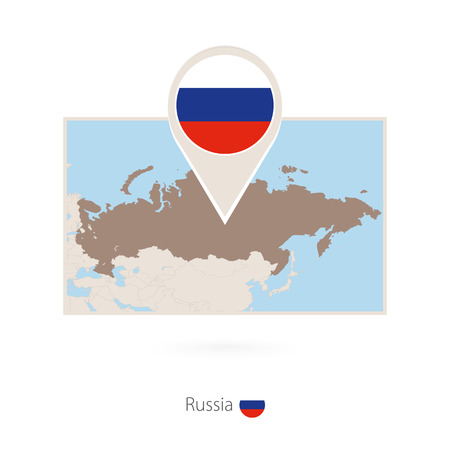 Rectangular map of Russia with pin icon of Russia