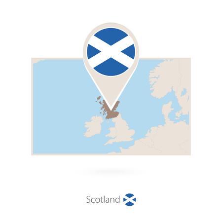 Rectangular map of Scotland with pin icon of Scotland Illustration