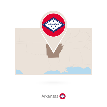 Rectangular map of US state Arkansas with pin icon of Arkansas