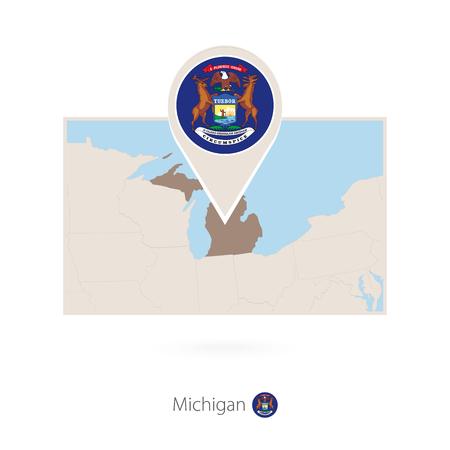 Rectangular map of US state Michigan with pin icon of Michigan Illustration