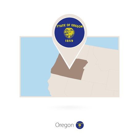 Rectangular map of US state Oregon with pin icon of Oregon